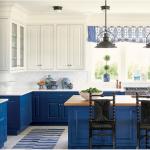 kitchen-design-in-stone-mountain-ga-cobalt-blue-base-cabinets-ivory-top-cabinets-butcher-block-island