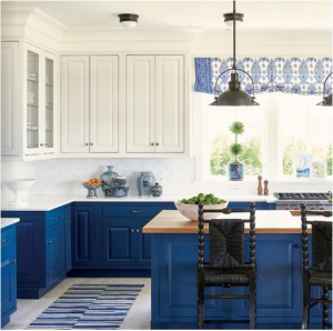 kitchen-design-in-stone-mountain-ga-cobalt-blue-base-cabinets-ivory-top-cabinets-butcher-block-island