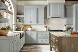 kitchen-remodel-in-Stone Mountain-ga-kraftmaid-seafoam-blue-maple-cabinets-kitchen-island